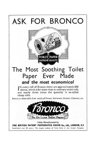 Bronco, Toilet, Paper, Advertisement--Giclee Print