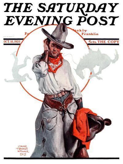 """Bronco Toss,"" Saturday Evening Post Cover, October 10, 1925-Edgar Franklin Wittmack-Giclee Print"