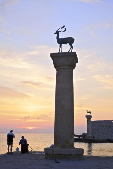 Bronze Doe and Stag Statues at the Entrance of Mandraki Harbour, Rhodes, Dodecanese-Neil Farrin-Photographic Print