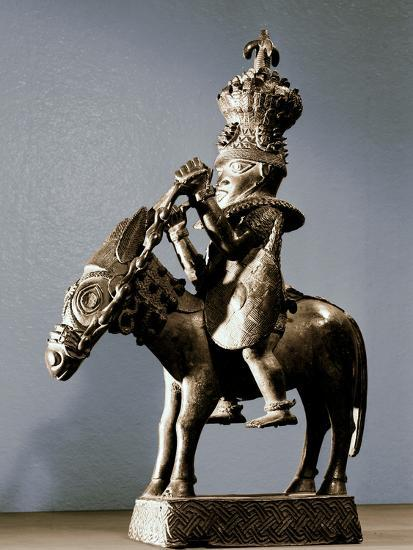 Bronze figure of a warrior on horseback, Benin, Nigeria, late 17th - early 19th century-Werner Forman-Photographic Print