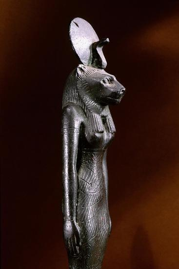 Bronze Figure of the Lion-Headed Goddess Sekhmet with Sun Disc and Uraeus--Giclee Print