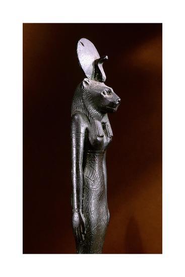 Bronze Figure of the Lion-Headed Goddess Sekhmet with Sun Disc and Uraeus--Giclee Print
