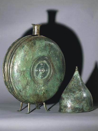 Bronze Flask and Helmet, from Tomb of Prince, Austria--Giclee Print