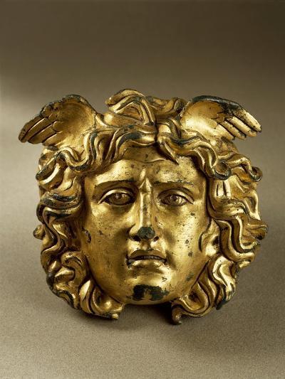 Bronze Gilt Medusa Head from Temple of Aesculapius at Ulpia Traiana Sarmizegetusa, Romania--Giclee Print