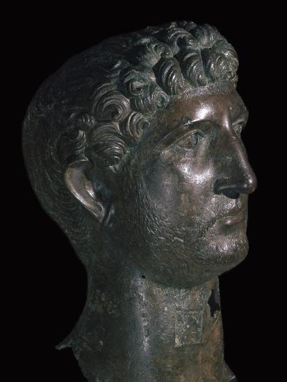 Bronze head of Hadrian, 1st century. Artist: Unknown-Unknown-Giclee Print
