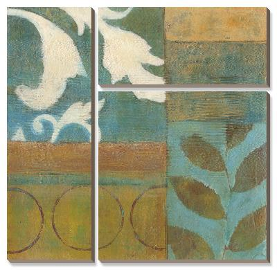 Bronze Leaf Quadrant I-W^ Green-Aldridge-Canvas Art Set