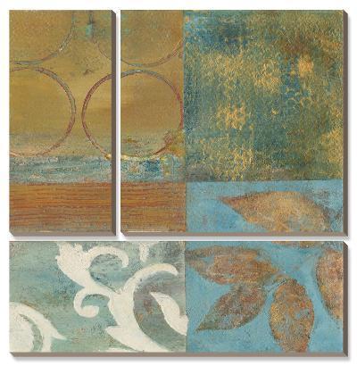 Bronze Leaf Quadrant II-W^ Green-Aldridge-Canvas Art Set