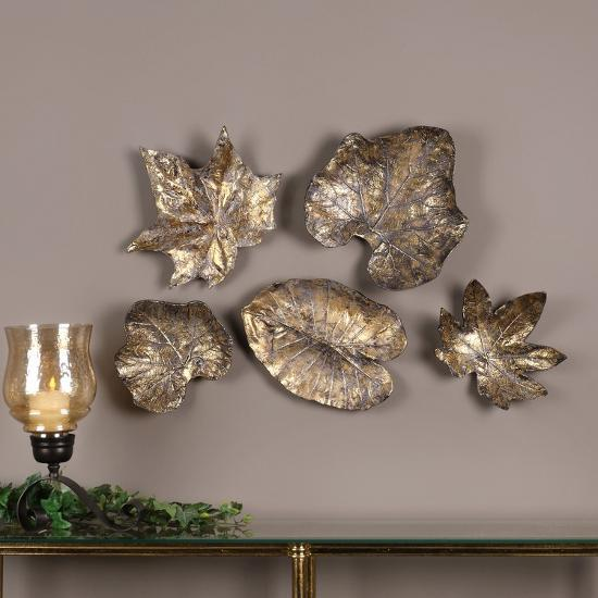 Bronze Leaves Wall Art Set Alternative Decor By