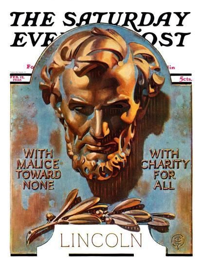 """Bronze Lincoln,"" Saturday Evening Post Cover, February 12, 1938-Joseph Christian Leyendecker-Giclee Print"
