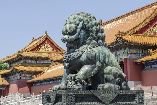 Bronze Lion Guarding the Entrance to the Gate of Supreme Harmony, Forbidden City, Beijing China-Michael DeFreitas-Photographic Print