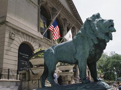 Bronze Lions Stand Guard over the Art Institute of Chicago Entrance-Paul Damien-Photographic Print