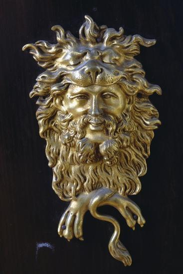 Bronze Mask, Detail from Napoleon III Style Piece of Furniture with Imitation Boulle Inlays, France--Giclee Print