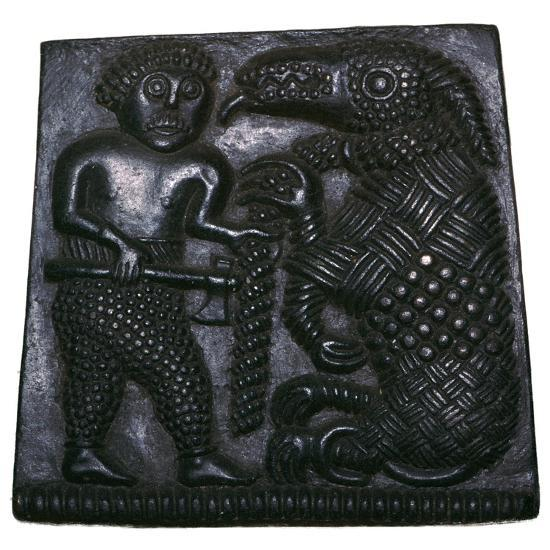 Bronze matrix for making decorative plaques for helmets, 8th century. Artist: Unknown-Unknown-Giclee Print