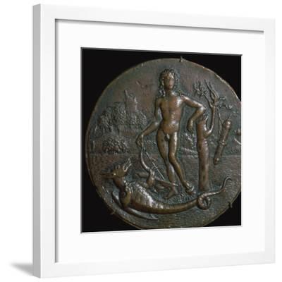 Bronze medallion of the Greek god Apollo and the serpent Python, 15th century-Antonio de Brescia-Framed Giclee Print