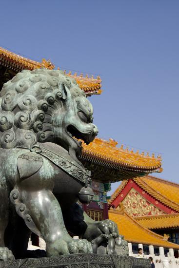 Bronze Mythological Lion Statue, Forbidden City, Beijing, China-Cindy Miller Hopkins-Photographic Print