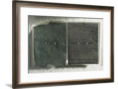 Bronze Plaque Containing Military Diploma Granted by Emperors Elagabalus--Framed Giclee Print