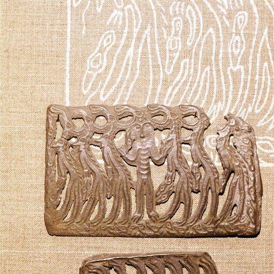 Bronze Plaque, illustrating Shamanism and Magic, Kama River Area, USSR, 3rd century BC-8th century-Unknown-Giclee Print