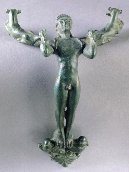 Bronze Pot Handle in the Shape of a Young Man--Giclee Print