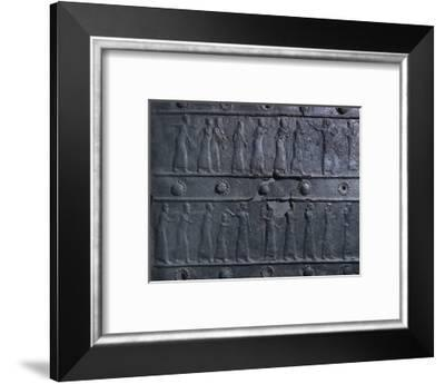 Bronze relief decoration from the gates of Shalmaneser III, from Balawat, Iraq, Assyrian, c853 BC-Werner Forman-Framed Photographic Print