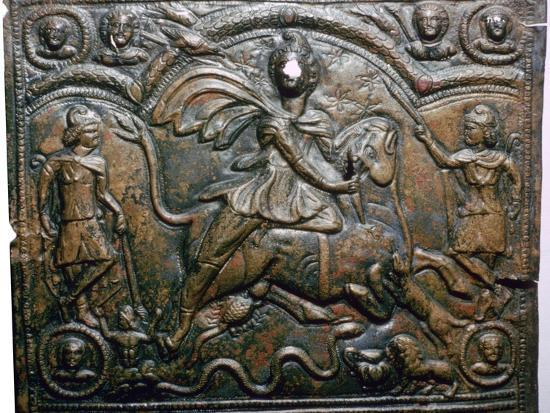 Bronze Roman relief of Mithras killing a bull. Artist: Unknown-Unknown-Giclee Print