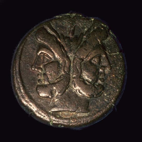 Bronze Roman republican As, 1st century. Artist: Unknown-Unknown-Giclee Print
