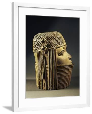 Bronze Sculpture of Female Head--Framed Giclee Print