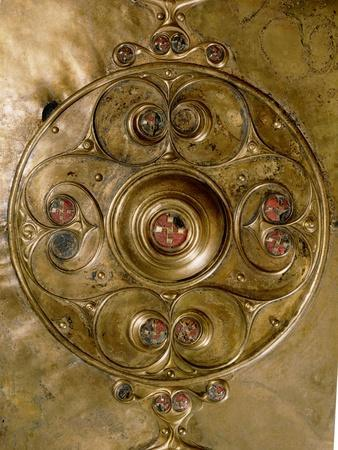 Bronze shield decorated with studs in red glass paste (detail)-Werner Forman-Framed Giclee Print