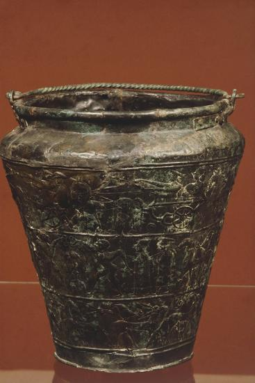 Bronze Situla with Structured Decoration on Three Panels, Showing Procession of Horses and Riders--Giclee Print