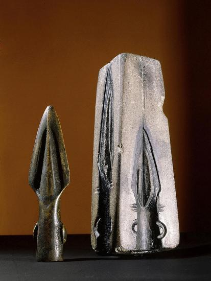 Bronze spearhead and mould, pre-Celtic or early Celtic Britain-Werner Forman-Giclee Print