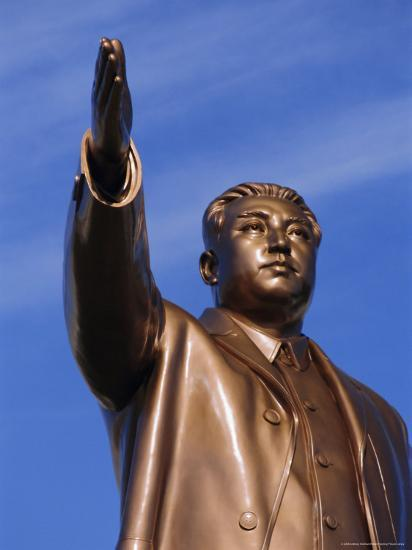 Bronze Statue, 30M High, of Great Leader, Mansudae Hill Grand Monument, Pyongyang, North Korea-Anthony Waltham-Photographic Print