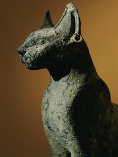 Bronze Statue of Cat Representing the Goddess Bastet-Kenneth Garrett-Photographic Print