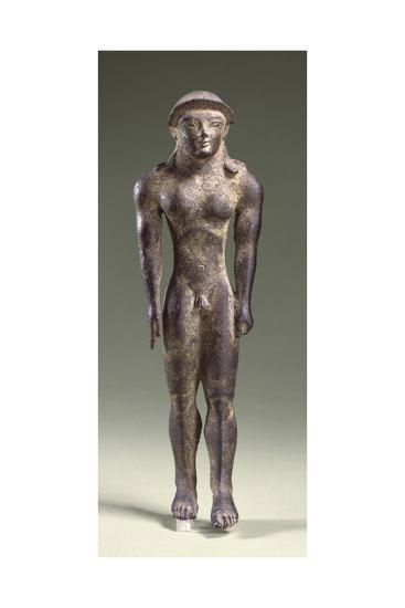 Bronze Statuette Depicting a Kouros, Front View, 7th Century BC--Giclee Print