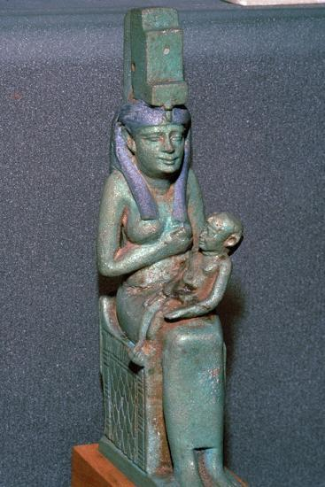 Bronze statuette of the Egyptian goddess Isis suckling Horus. Artist: Unknown-Unknown-Giclee Print