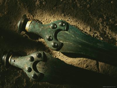Bronze Swords with Gold Trim Recovered from the Nebra Excavation Site-Kenneth Garrett-Photographic Print