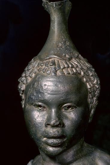 Bronze vessel in the form of the head of a young African woman. Artist: Unknown-Unknown-Giclee Print