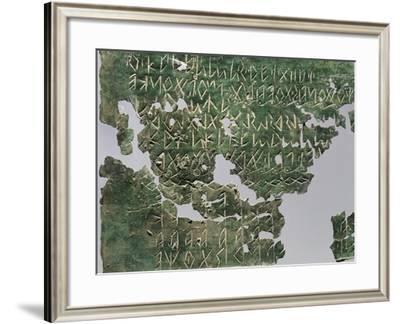 Bronze Votive Alphabetical Tablet, Veneto, Italy, Paleoveneti Civilization, 5th Century BC--Framed Giclee Print