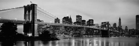 Brooklyn Bridge across the East River at Dusk, Manhattan, New York City, New York State, USA--Photographic Print