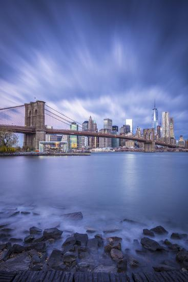 Brooklyn Bridge and Lower Manhattan/Downtown, New York City, New York, USA-Jon Arnold-Photographic Print