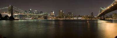 Brooklyn Bridge and Manhattan Bridge across East River at Night, Manhattan, New York City, New Y...--Photographic Print