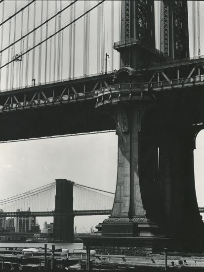 Brooklyn Bridge and Manhattan Bridge, New York, c. 1946-Brett Weston-Photographic Print