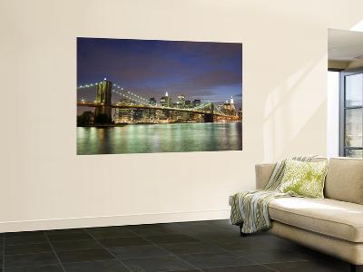 Brooklyn Bridge and Manhattan Skyline at Dusk-Christopher Groenhout-Wall Mural