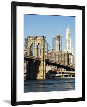 Brooklyn Bridge and Manhattan Skyline, New York City, New York, USA-Amanda Hall-Framed Photographic Print