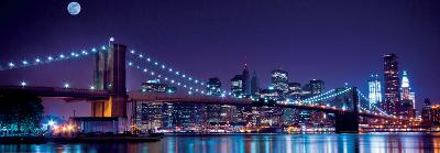 Brooklyn Bridge and Manhattan Skyline with a Full Moon Overhead-New York-Littleny-Art Print
