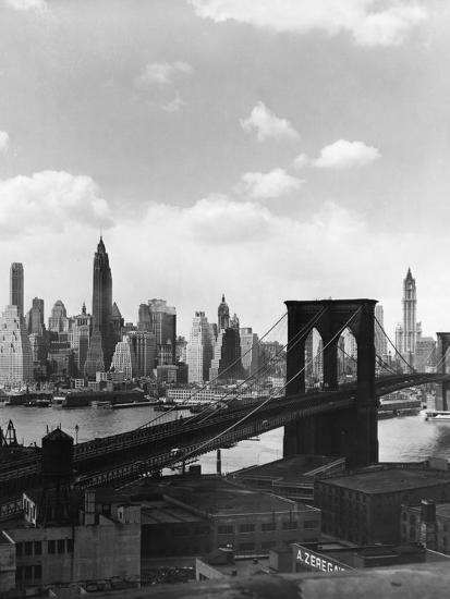 Brooklyn Bridge and Manhattan Skyline-Frederic Lewis-Photographic Print