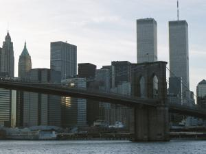 Brooklyn Bridge and the Manhattan Skyline with the World Trade Center, New York City, America
