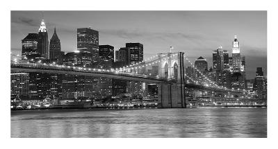 Brooklyn Bridge at Night--Art Print