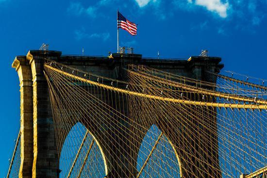 Brooklyn Bridge at sunset, NY NY - in black and white--Photographic Print