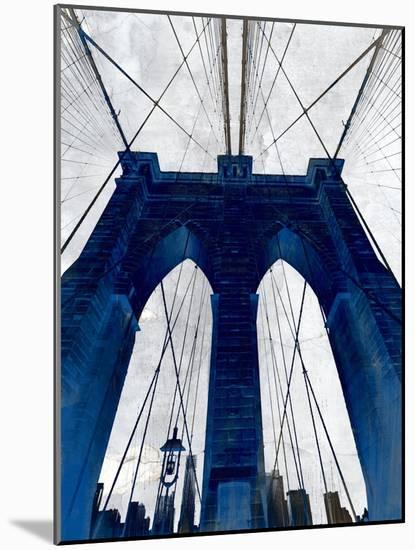 Brooklyn Bridge Blue--Mounted Premium Giclee Print