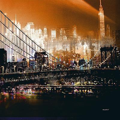 Brooklyn Bridge by Night- Mereditt.f-Art Print