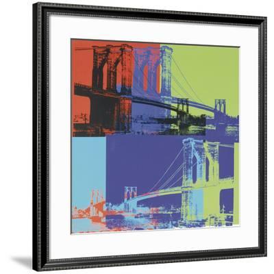 Brooklyn Bridge, c.1983 (Orange, Blue, Lime)-Andy Warhol-Framed Giclee Print